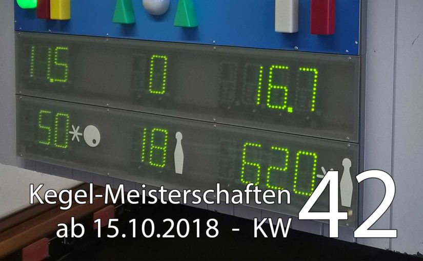 Kegel-Meisterschaften ab 15. Oktober 2018 (KW 42)