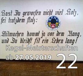Kegel-Meisterschaften ab 27. Mai 2019 (KW 22)
