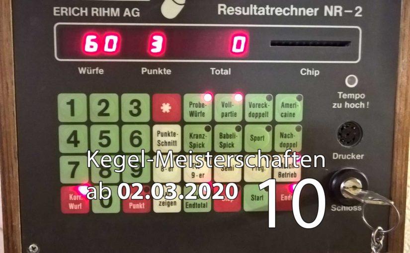 Kegel-Meisterschaften ab 02. März 2020 (KW 10)